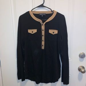 Black Button Up Shirt with Patterned Accents